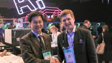 Aalto University president Ilkka Niemelä (right) with SUTD president professor Chong Tow Chong at the ongoing Slush 2018 startup and tech event in Helsinki.