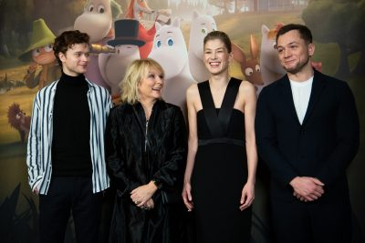 The cast for the English-language version of the series includes (left to right) Edvin Endre, Jennifer Saunders, Rosamund Pike and Taron Egerton