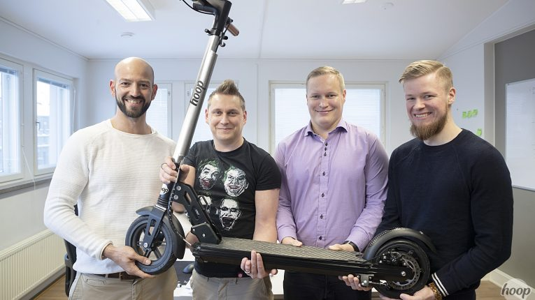 (left to right) Hoop founders Khalifa Laaksonen, Jerry Jalava, Ville Väätäinen, Tony Kuitunen want to offer zero-emission alternatives to private motoring.