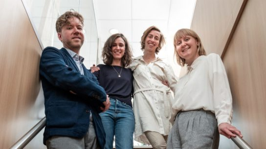 From left to right: director Mikko Myllylahti, jury members Gaëlle Mareschin and Mathilde Henrotin, as well as producer Emilia Haukka.