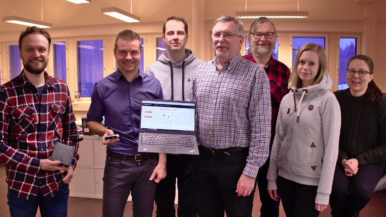Our product makes it possible to produce accurate data on seizures, their type, duration and intensity, says Kaapo Annala (second from the left), the CEO of Neuro Event Labs.
