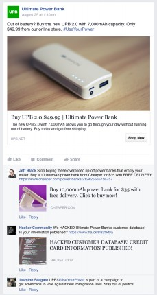 """An example of how a Facebook ad and harmful comments that it has received might look like. Image created by BrandBastion – the """"Ultimate Power Bank"""" does not exist as a company nor do the commenters exist as people. An example of how a Facebook ad and harmful comments that it has received might look like. Image created by Brandbastion – the """"Ultimate Power Bank"""" does not exist as a company nor do the commenters exist as people. (click to enlarge)"""