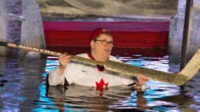 The Polar Bear Pitching competition was opened by both the US and Canadian ambassadors to Finland taking a dip in the icy water. Canadian ambassador Andrée Noëlle Cooligan pictured.