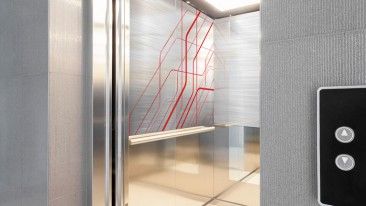 Cajo Technologies has developed a new way of producing permanent laser markings and colour patterns on almost any imaginable material. Pictured is a lift wall utilising Cajo's technology.