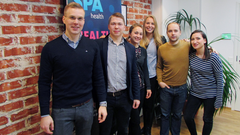The HealthSPA team with NetMedi Head of Operations Henri Virtanen (second from left).