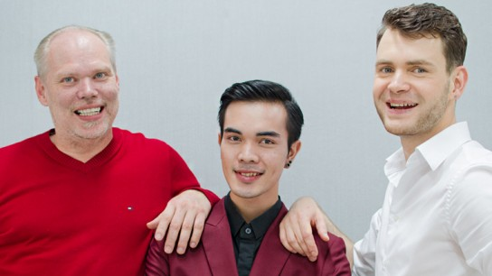 International fashion brand Vejits was established in Finland. Vejits' designers (left to right) Finnish Olli Turunen, Pornwijit Chuasomboon from Thailand and Russian Mikhail Volodchenkov.