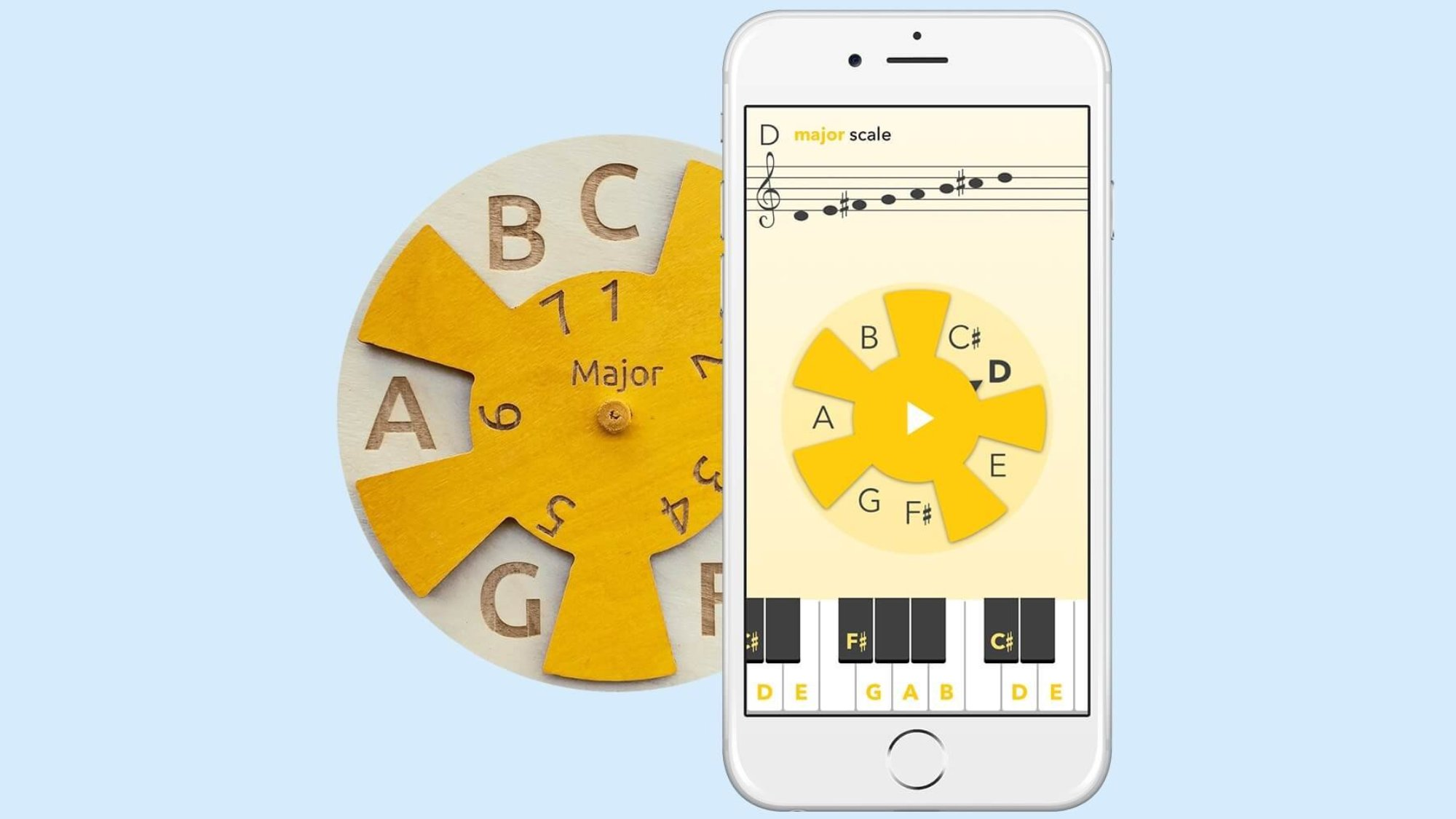 a wooden musiclock educational toy and a mobilephone