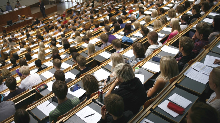 Students attend a lecture at Aalto University.