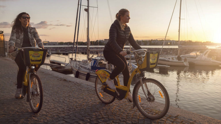 Finland's health and wellbeing was ranked fourth in the world. City bikes in Helsinki encourage the use of pedal power to get about town.