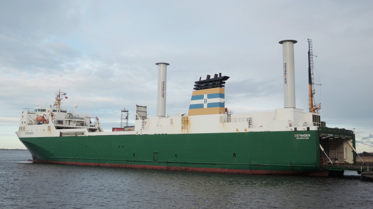 During commercial operation aboard the carrier M/S Estraden (pictured), two small units of Norsepower's Rotor Sails have reduced fuel consumption by 6.1 per cent.
