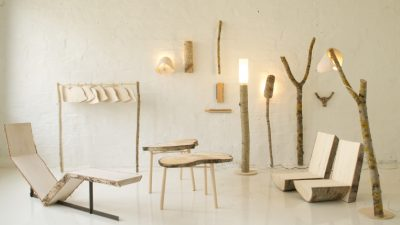 Finnish furniture designer Sanelma Hihnala studies how wood can be used in everyday objects with as little processing as possible and designs her work directly from raw wood.