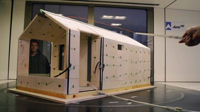 The Liina transitional shelter, developed by the Wood Program students at Aalto University, is being tested in a wind tunnel to see how it will stand up to weather conditions in disaster areas.