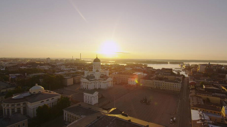 The sun lingers over Helsinki during another long summer night.