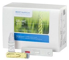 Celiac Quick Test delivers results in 10 minutes.