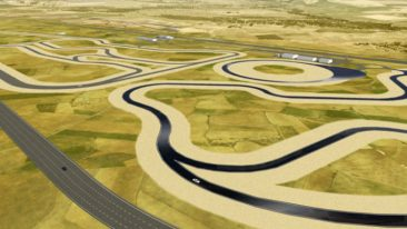 The oval track with banked curves enables tests at speeds of up to 300 km/h.