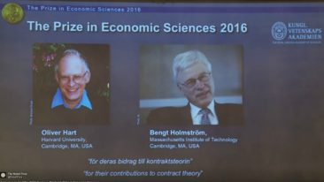 The prize in Economic Sciences in Memory of Alfred Nobel was announced on Monday.