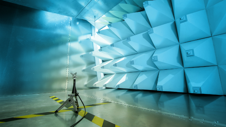The interior of an electromagnetic compatibility testing chamber.