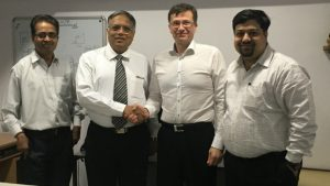 Pictured from left: Pravin Tripathi, head of sales & services, Valmet; Santosh Ajgaonkar, managing director and co-owner, Consulta Enterprises; Matti Miinalainen, director, Asia Pacific, Asia & China, Valmet; and Kaustubh Purohit, EPS sales, Valmet.