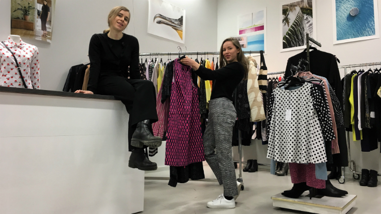 Laura (left) and Sara Nyyssölä in their We Started This store near central Helsinki.