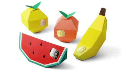 The T2 Mini Fruit Tea packages reflect the flavours in their various fruit shapes.