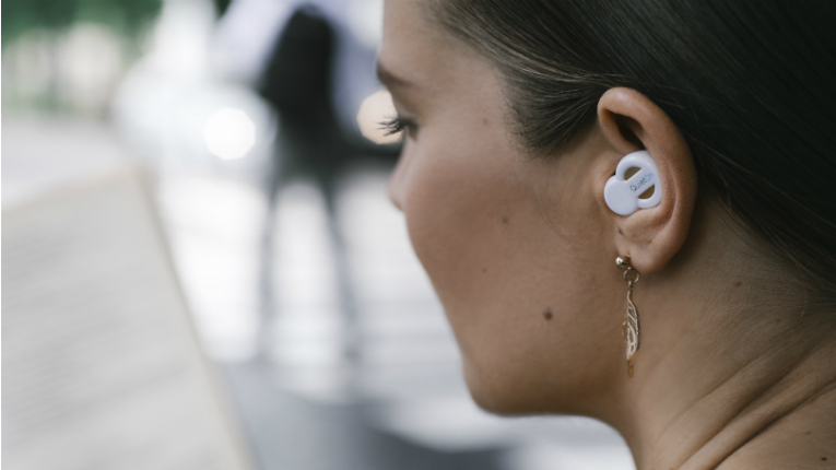 QuietOn noise cancellation earplugs conveniently make it possible to comfortably rest a head on a pillow or work anywhere, without the need for noise cancellation headphones.