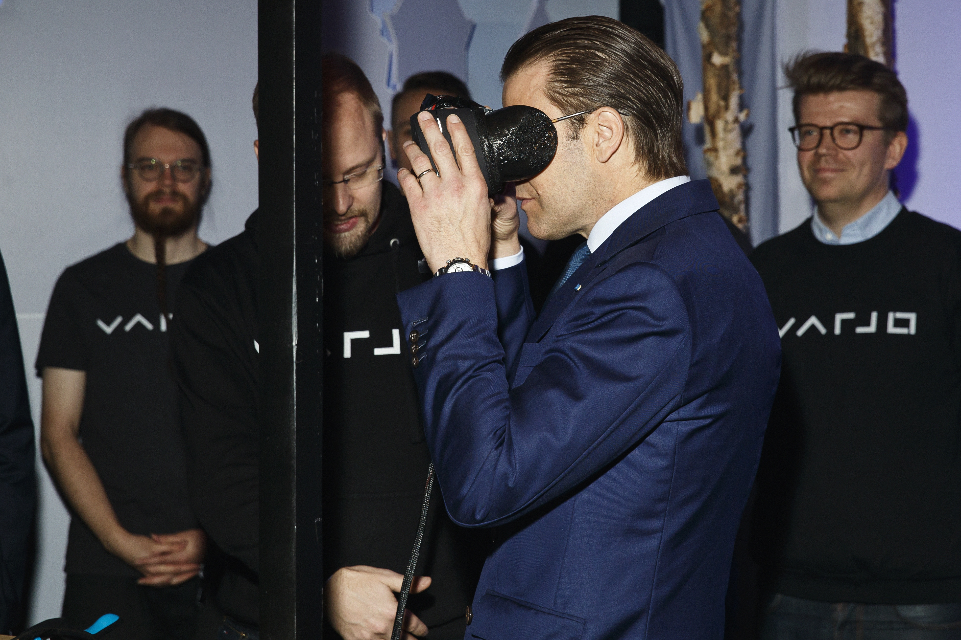 Varjo's 'human eye-resolution' VR technology was tested in public for the first time in history, and the people testing it were nothing less than royals. Just before Prince Daniel from Sweden (pictured), Britain's Prince William has a go at the headset.