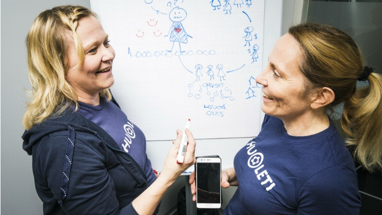 """Huoleti founders Carita Savin (left) and Maria Lipsonen believe the future of health apps is communal. """"We call it modern communality,"""" Savin says. """"People are going back to communities, but increasingly they will be enabled by digital tools like ours."""""""