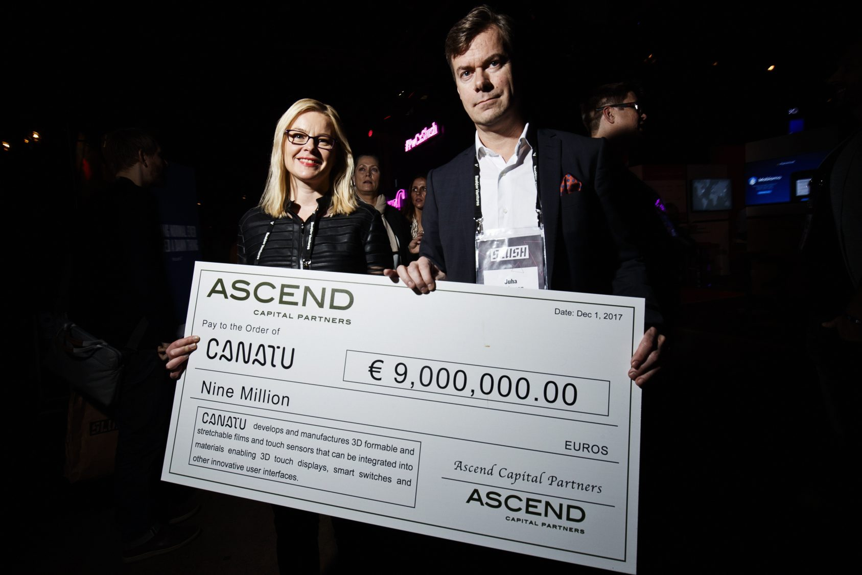 """Finnish Canatu visited Slush to announce a capital raise of 12 million euros from DENSO, Ascend Capital Partners and its existing investor Faurecia. Marketing director Katja Mälkki and CEO Juha Kokkonen were, understandably, excited. """"Slush is a show in itself with plenty of media attention, so announcing the news here doubles or triples our visibility,"""" Kokkonen noted."""