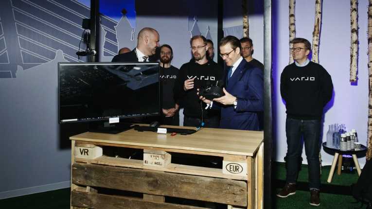 Sweden's Prince Daniel, holding the headset, was one of the first people to ever test Varjo's technology in public at Slush last week.
