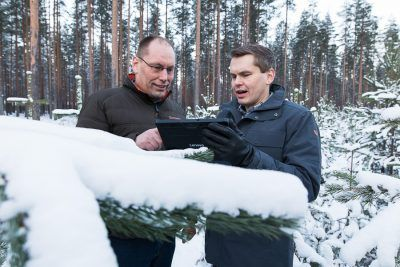 """The accuracy and quality of data improves constantly,"" envisions Arbonaut's Jari Kinnunen (left), pictured with Vesa Leppänen. ""At some point, we will get to the level where we can model each branch in an individual tree."""