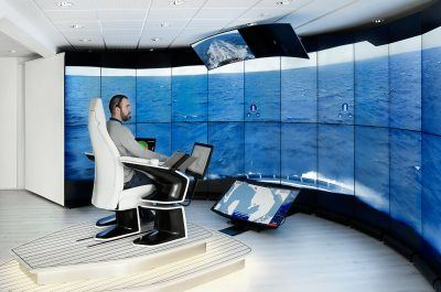 Rolls-Royce has focused the development of autonomous shipping technology, like this control room for remotely operated vessels, to Turku.