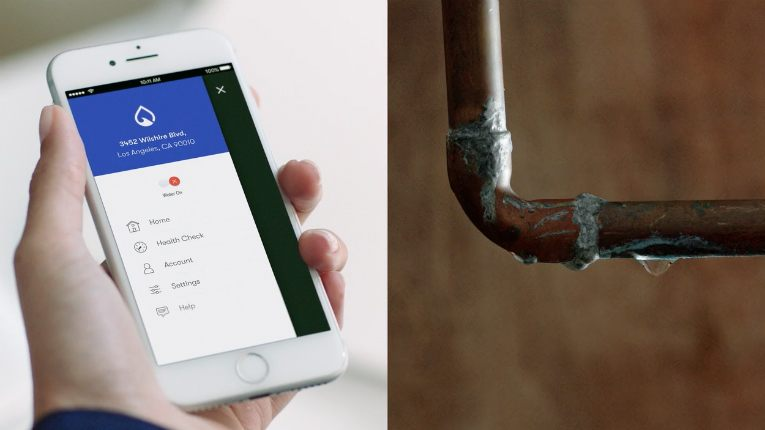 The Phyn Plus water monitoring system alerts homeowners of changes in normal water usage, via a mobile app.