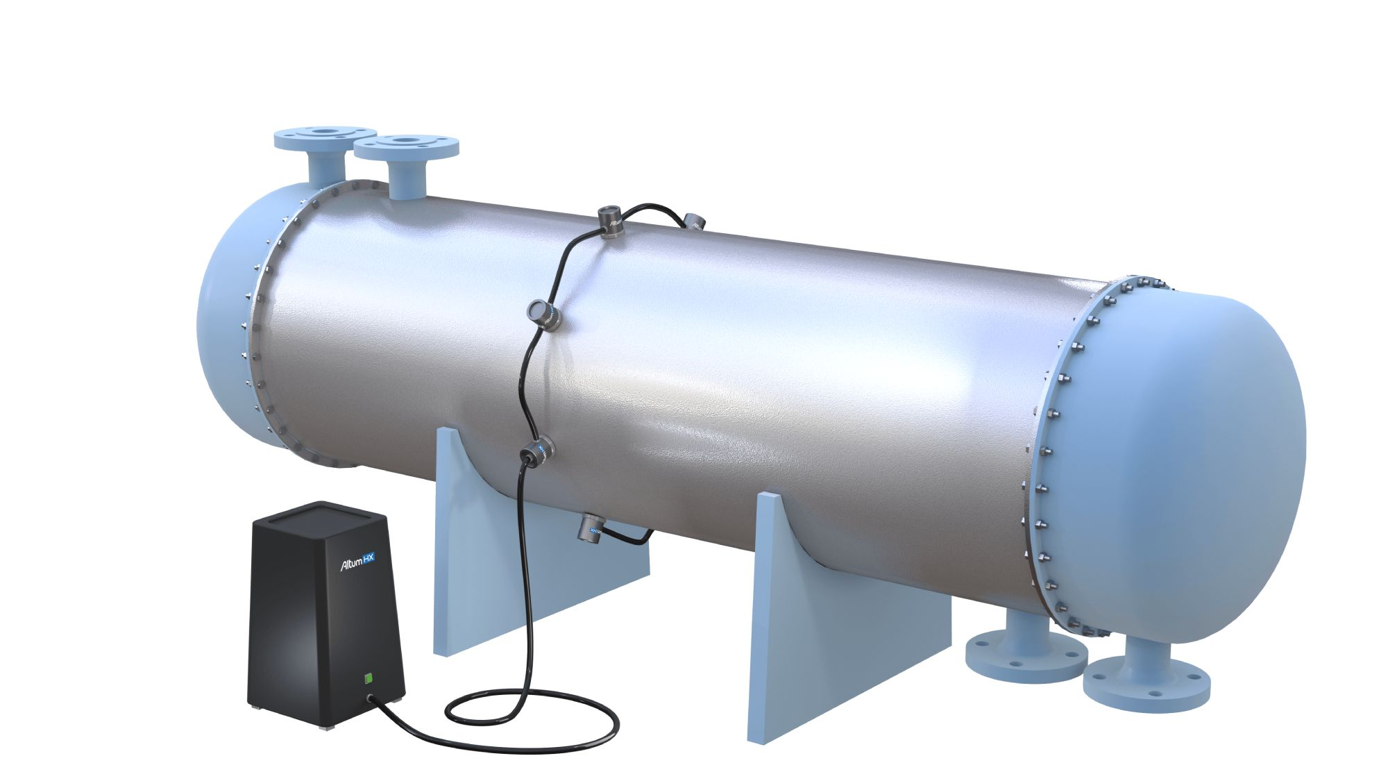 The company's power ultrasound devices are externally attached to industrial equipment and emit focused, high-power ultrasound waves where cleaning is needed. The sound waves break up and disperse fouling.