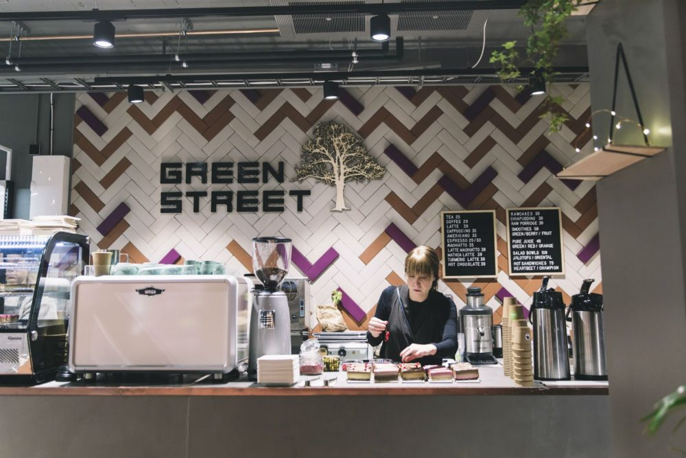 GreenStreet, also owned by a Finn, makes Happy Food Store a place for hanging out.