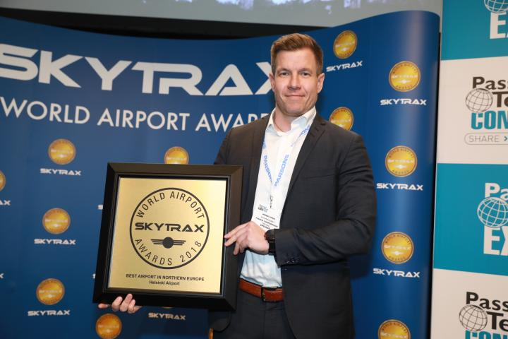 The award was handed out to Finavia's chief digital officer Heikki Koski at the Passenger Terminal EXPO in Stockholm, Sweden.