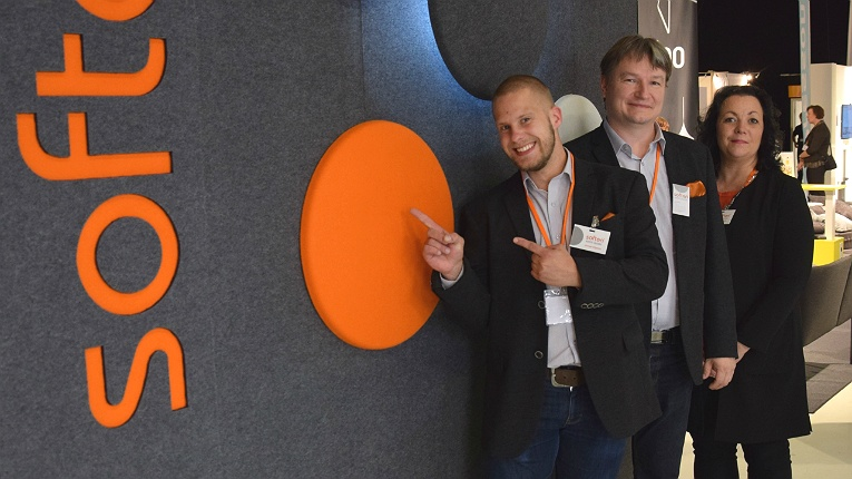 """Soften creates easy-to-customise, modular acoustic elements for public and commercial spaces. """"We aim to make stylish and easily transformable products which you are not ashamed to put on display in any space,"""" states CEO Sami Helle (middle)."""