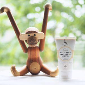 Sophie la girafe Cosmetics products are designed by Jonna Jalkanen and manufactured by a subcontractor in Latvia.