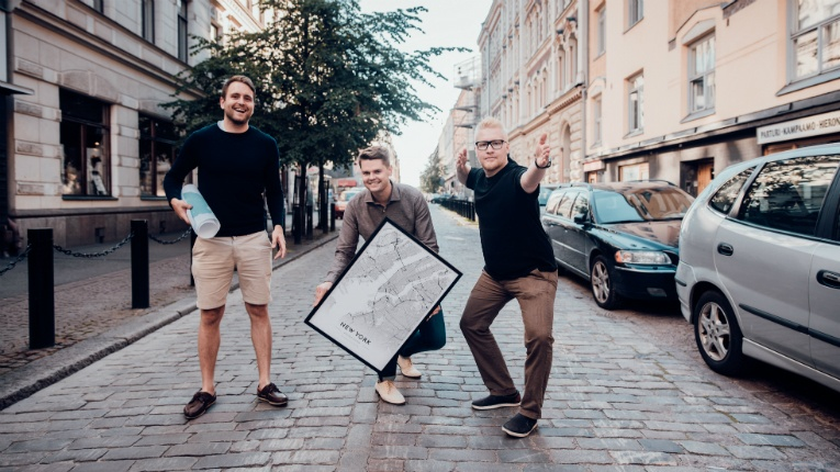 Map company Alvar Carto was founded by (left to right) Nico Eriksson, Kimmo Brunfeldt and Aarne Huttunen.