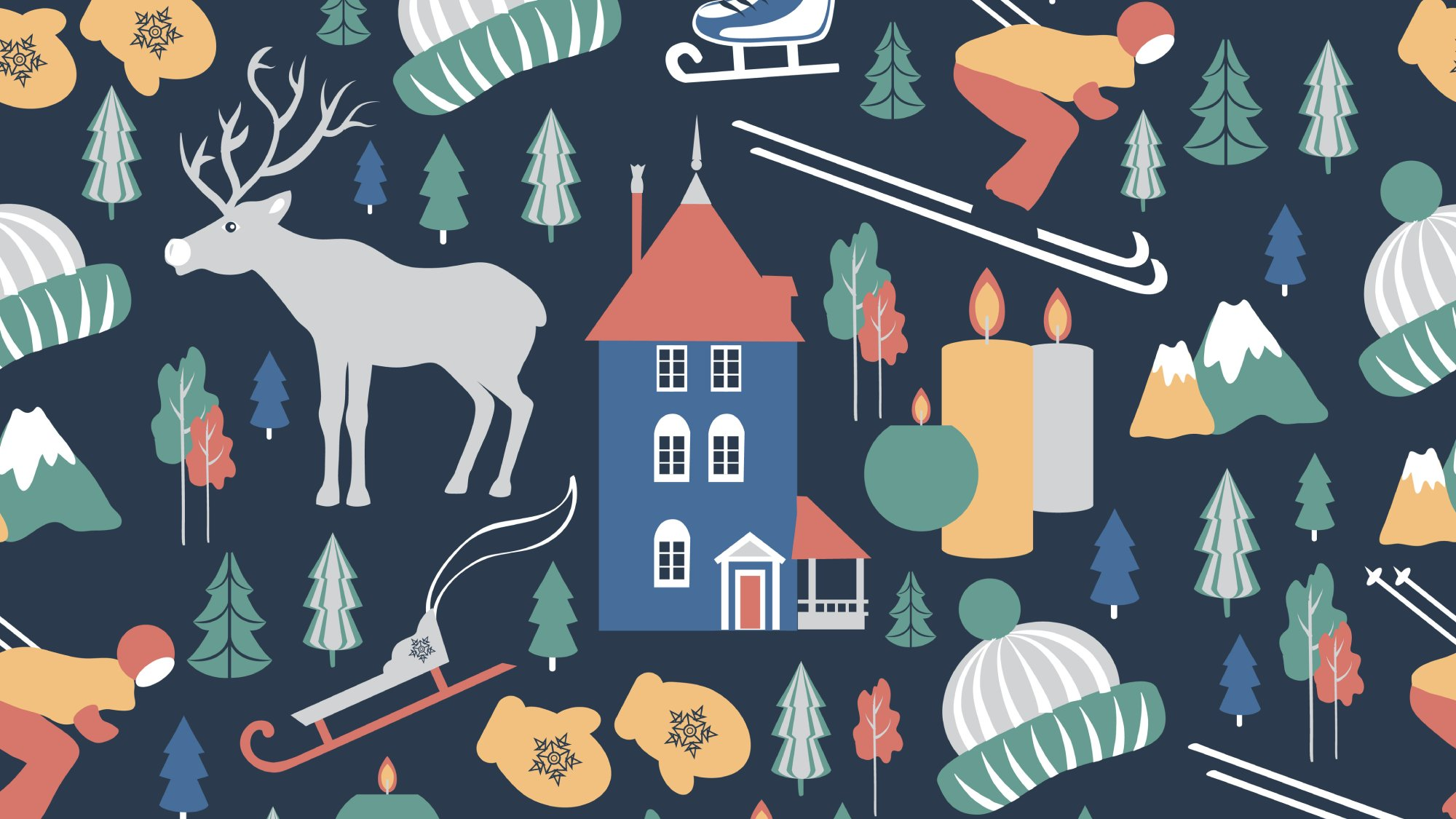 illustration of Finnish culture and nature characters