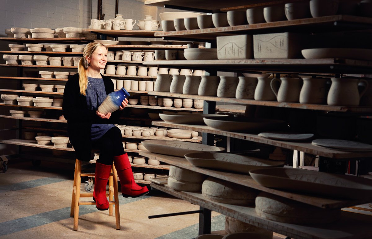 Kaisa Valkama-Kettune at the ceramics factory of Bjarmia.