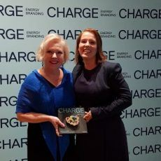 Senior VP Tiina Miettinen and communications manager Marjaana Kivioja on hand at the CHARGE Awards 2018.