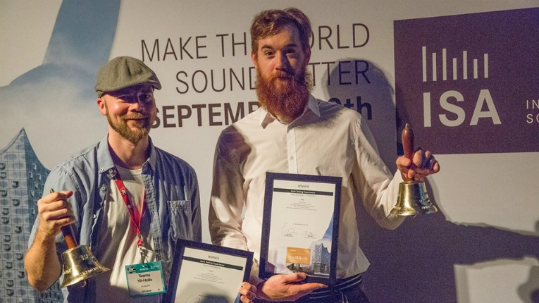 Audiodraft clinched gold at the International Sound Awards for an audio sommelier project with Kyrö Distillery at Slush Music 2017. CEO Teemu Yli-Hollo (left) and Cameron Murphy, head of production, accepted the famous ISA bells in Hamburg.