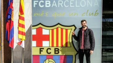 CoPlays CEO Markus Kauppinen outside FC Barcelona's iconic Camp Nou stadium.