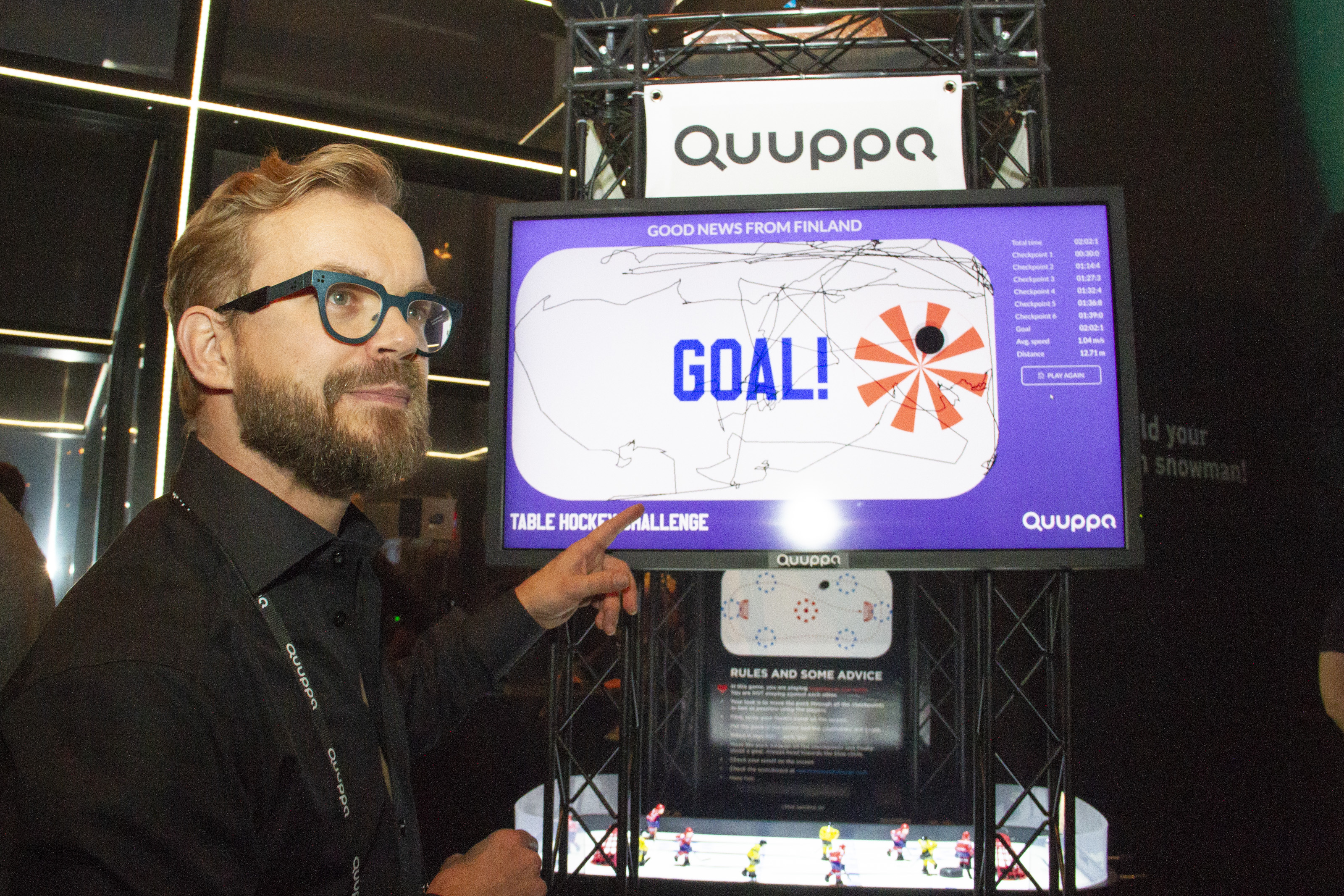 Good News from Finland played a table hockey game with Quuppa's Ville Norra to test its accurate indoor positioning technology, which is used also in the Finnish hockey league in real life. The result of the game was not so straightforward, however.
