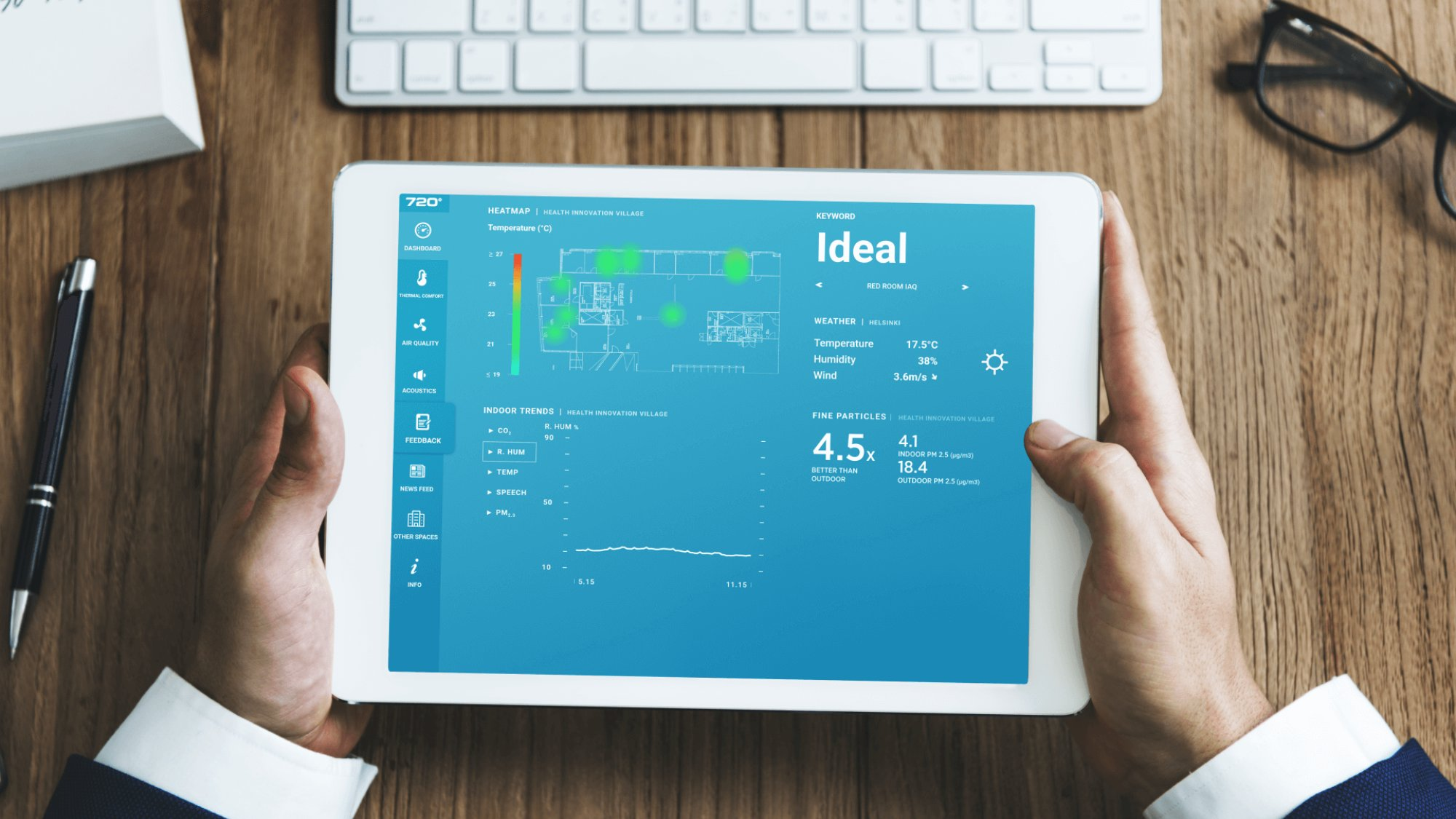 Tablet screen showing AI-powered indoor air quality analytics platform