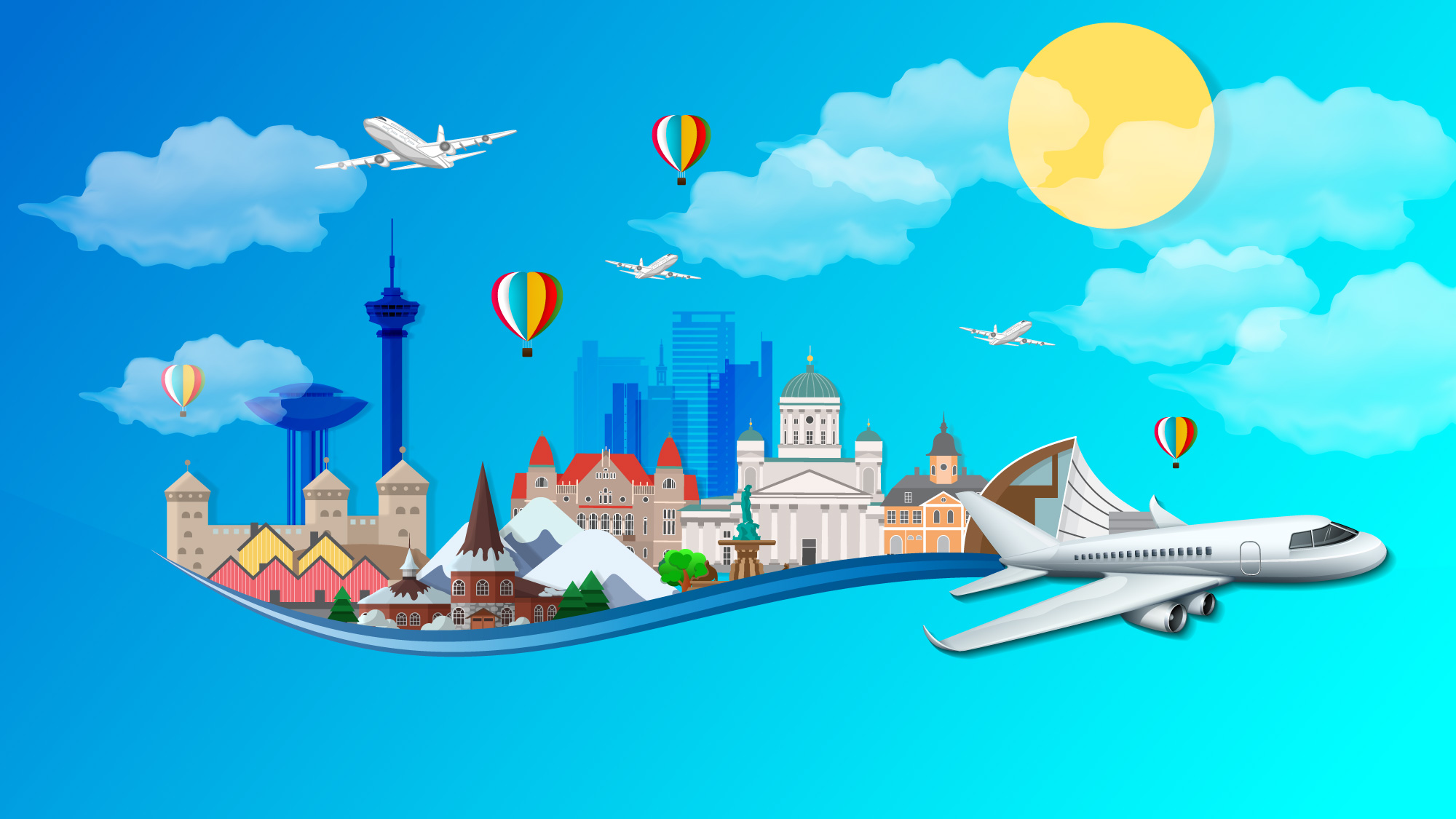 illustration of floating city and airplanes