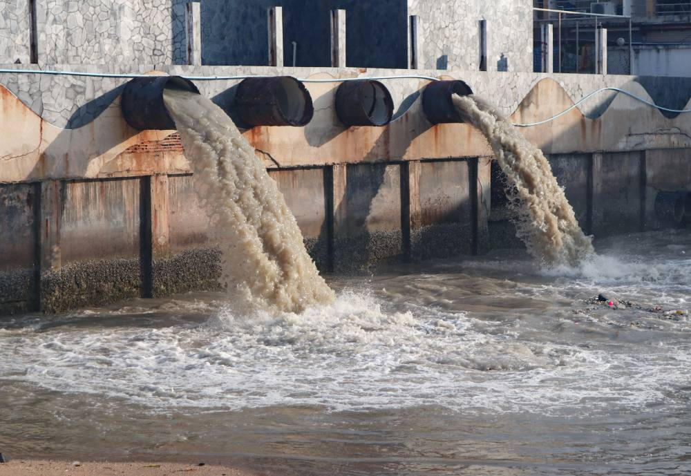 waste water gushing from pipes