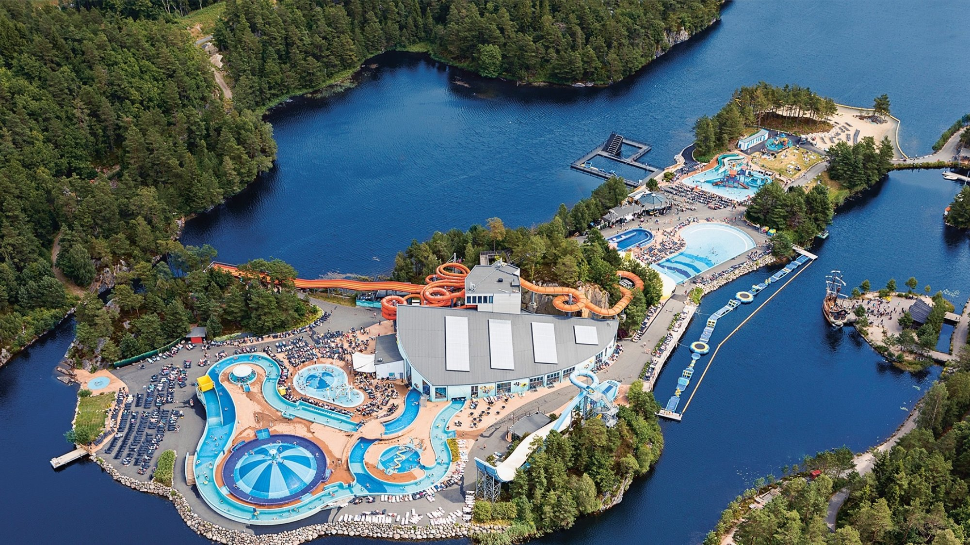 aerial view of a theme park