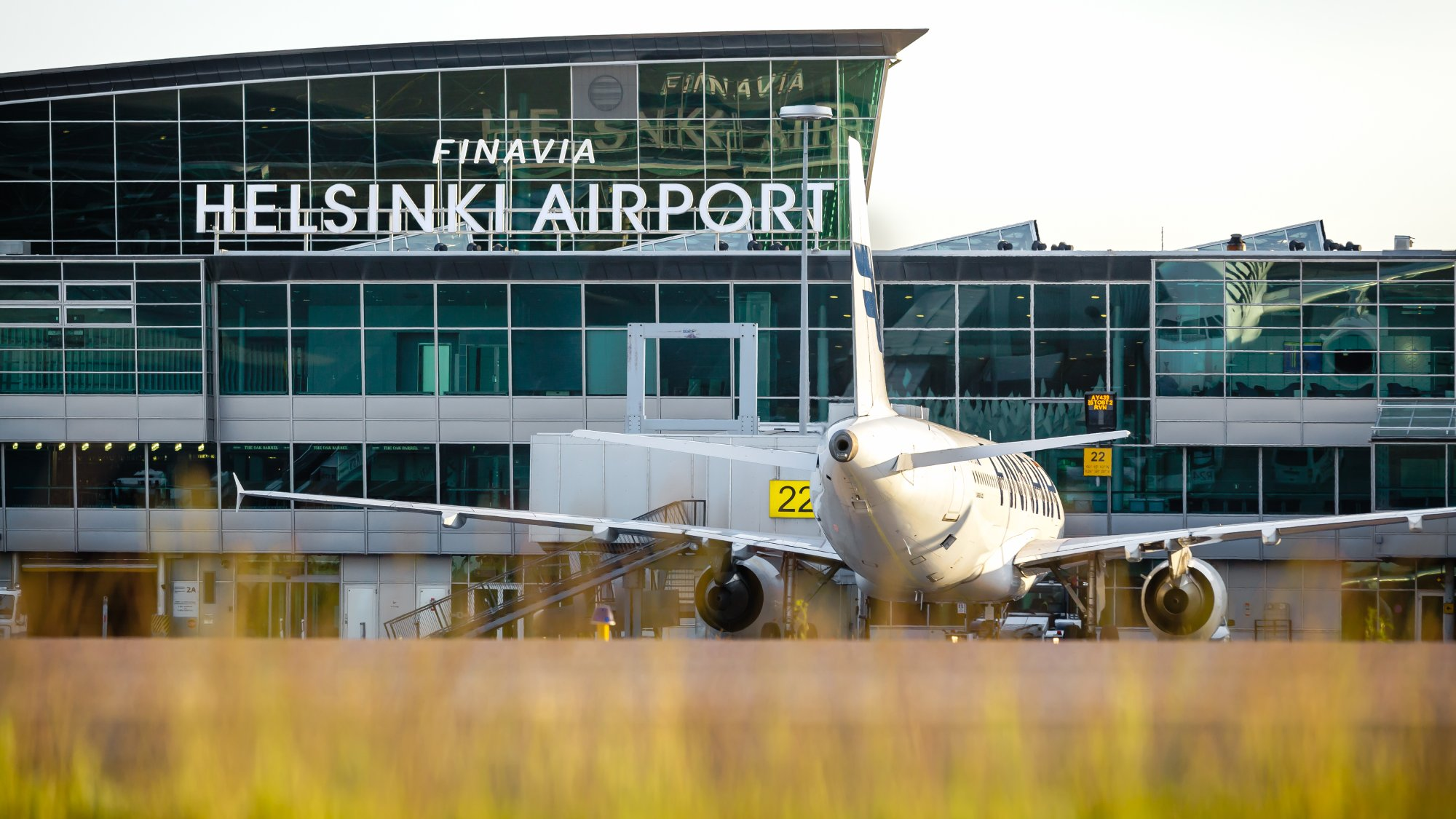 Helsinki Airport terminal and the air traffic control tower