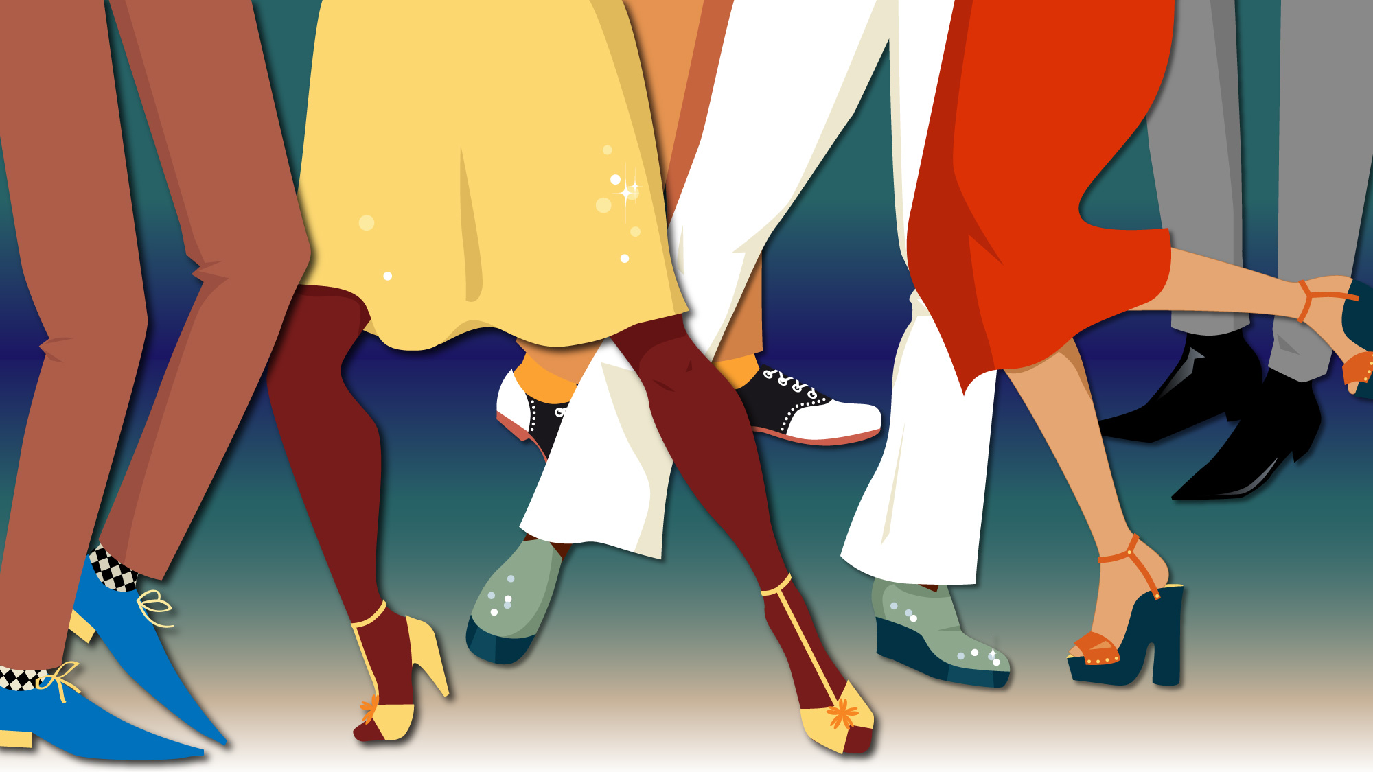 illustration of different people showcasing their shoes
